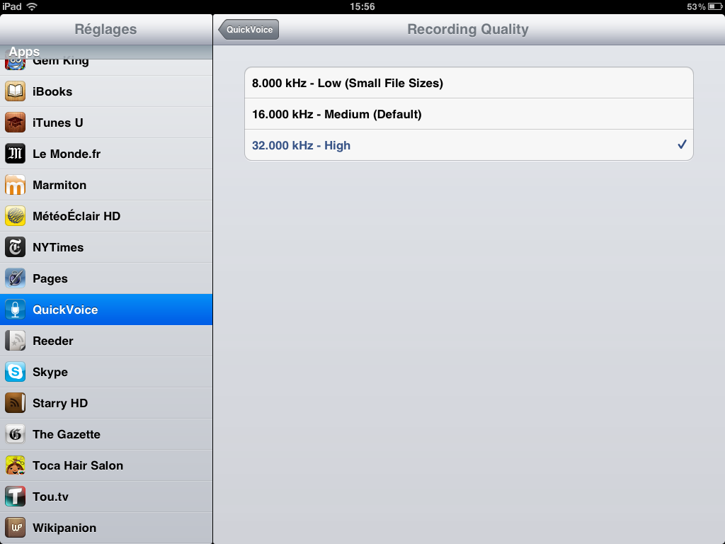 Besoin d une application dictaphone pour ipad for Application miroir pour ipad