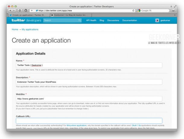 Twitter-API-Creation-Geekorner