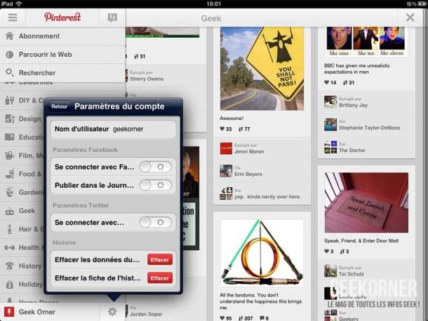 Pinterest iPad - Geekorner - 07