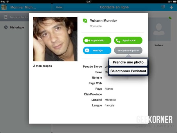 Skype iPad Transfert Photos - Geekorner - 02