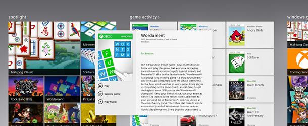 Windows 8 : 40 jeux XBox pour le 26 octobre
